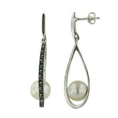 Marcasite Earring Open Teardrop Wrap 10mm Pearl