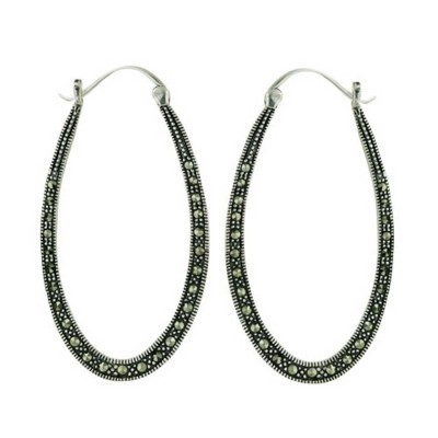 Marcasite Earring Elongated Oval Hoop with Latch Hook