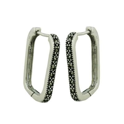 Marcasite Earring 18X23mm Rectangle Huggie