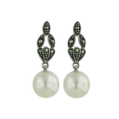 Marcasite Earring 10mm Pearl Dangle on 3 Marquis Post