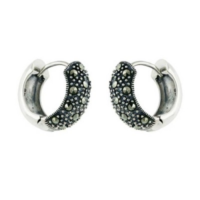 Marcasite Earring Huggie Marcastie Paved Front