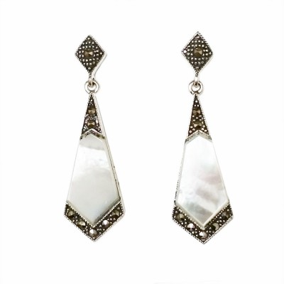 Marcasite Earring Long Rhombus Shaped Mother of Pearl with Marcasite Outlin