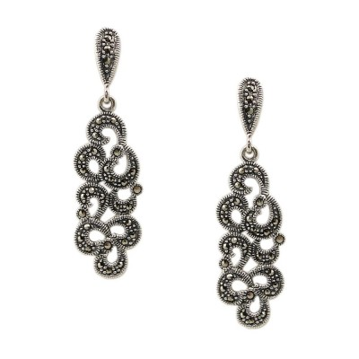 MS Earring Dangling Long Filigree Marcasite Pave