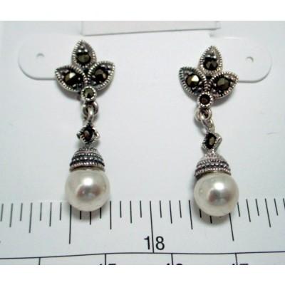 Marcasite Earring Pearl+Leave Dangling