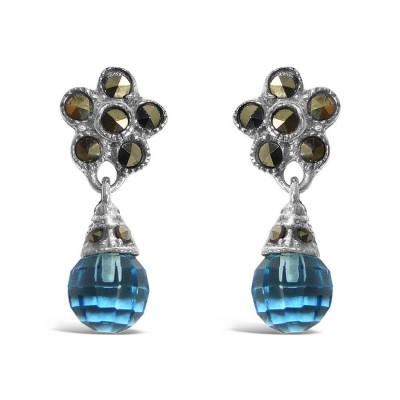 Marcasite Earring Flower Top +Dangling Round Blue Topaz Glass