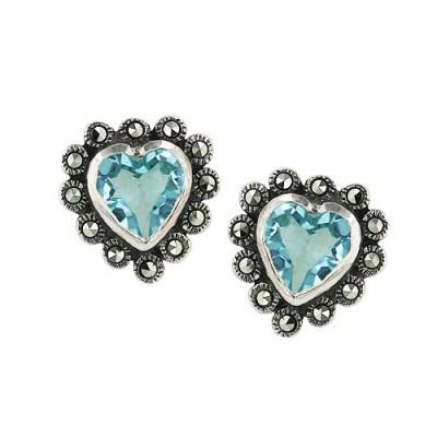 Marcasite Earring Blue Topaz Cubic Zirconia Heart 9X9
