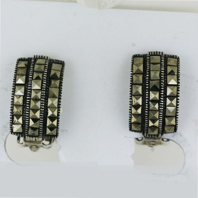 Marcasite Earring 3 Layer Square Cut Clip