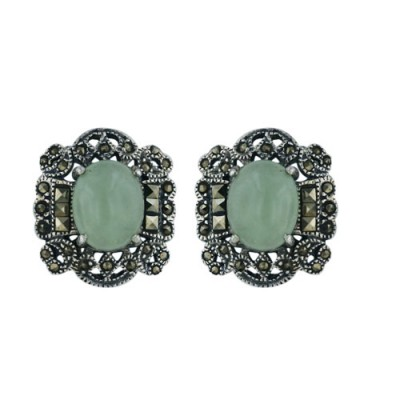 Marcasite Earring Oval G. Jade with Victorian Design Around