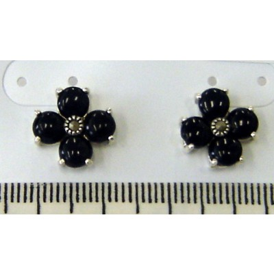 Marcasite Earring Flower Stud Onyx Petals