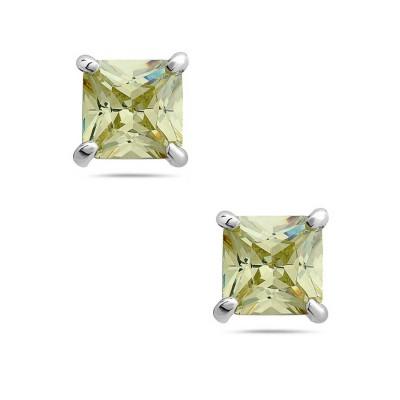 Sterling Silver Earring 8Mmx8Mm Square Lt.Oli. Cubic Zirconia Stud