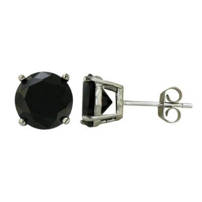 Sterling Silver Earring Black Cubic Zirconia 8mm Round Stud