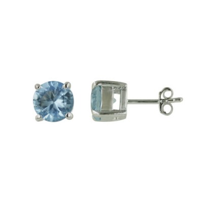 Sterling Silver Earring Aqua Marine Glass Round 7mm Stud