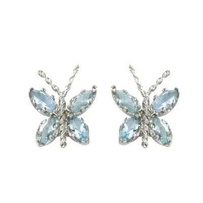 Sterling Silver Earring Butterfly Blue Topaz Glass Wings