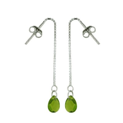 Sterling Silver Earring Peridot Glass Chess Cut Tear Drop with Box Chain
