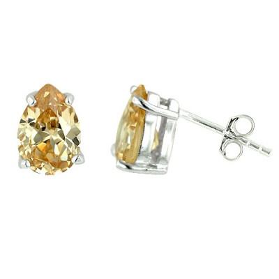 Sterling Silver Earring Champagne Cubic Zirconia Tear Drop Stud 6X9 mm