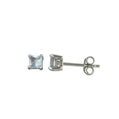Sterling Silver Earring 4mmx4mm Square Aqua Marine Glass Stud