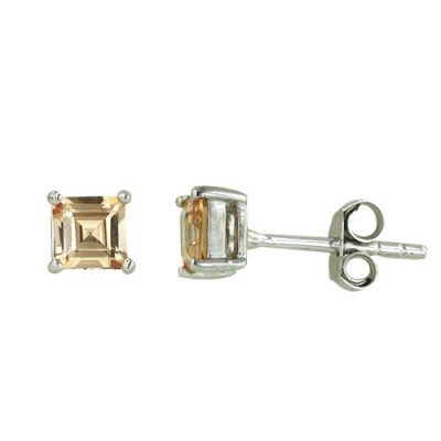 Sterling Silver Earring 4mmx4mm Square Champagne Cubic Zirconia Stud