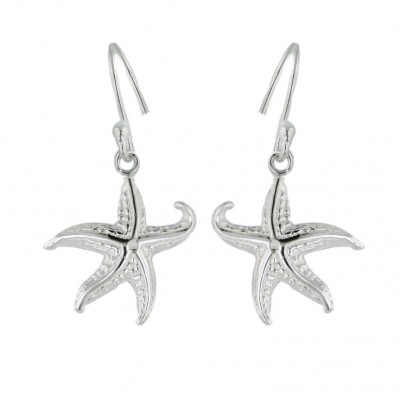 Sterling Silver Earring Plain Starfish with Fish Hook--E-coated/Nickle Free--