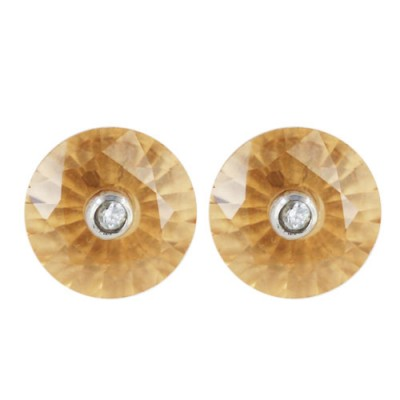 Sterling Silver Earring Champagne Cubic Zirconia Round