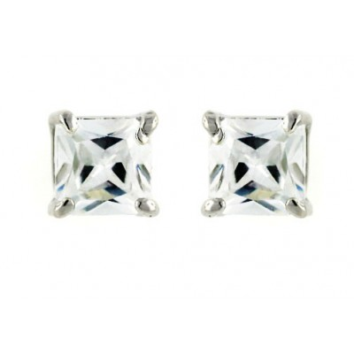 Sterling Silver Earring 6mmx6mm Square Princess Cut Clear Cubic Zirconia Stud
