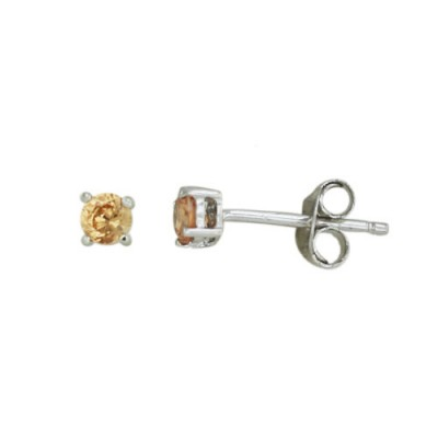 Sterling Silver Earring 3X3 mm Round Champagne Cubic Zirconia Stud (4 Prongs)