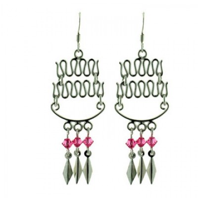 Sterling Silver Earring Up+Down Lines with Pink Crystal Drops