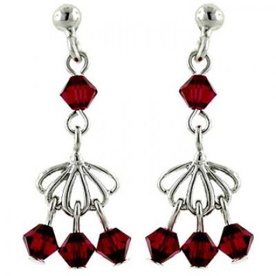Sterling Silver Earring Open Fan with Ruby Crystal Bead Dangle