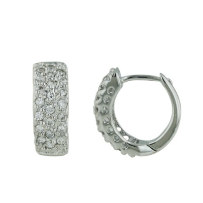Sterling Silver Earring Pave Cubic Zirconia Huggies
