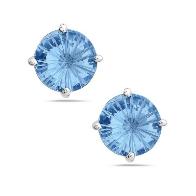 Sterling Silver Earring 8mm Flower Cut Aqua Marine Glass Stud
