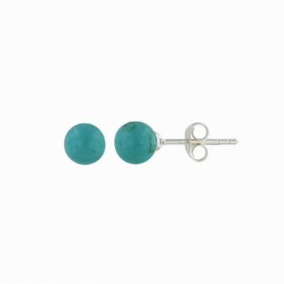 Sterling Silver Earring 6mm Faux Turquoise Stud