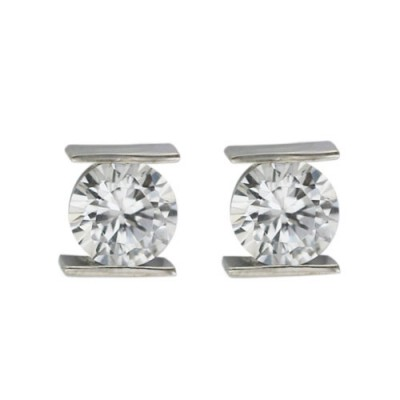 Sterling Silver Earring Clear Cubic Zirconia 8mm Tension Set