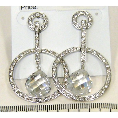Sterling Silver Earring 25mm Clear Cubic Zirconia Circle Swing with Chess Cut Tril