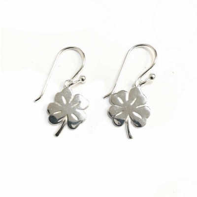 Sterling Silver Earring Clover Leaf with Fish Hook--E-Coat