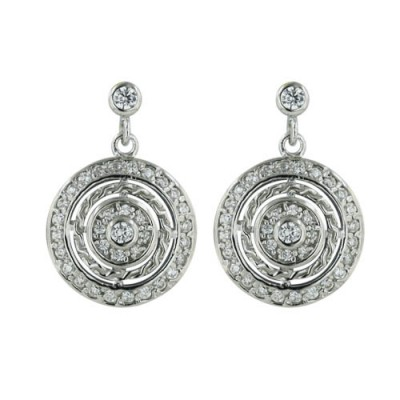 Sterling Silver Earring 18mm Triple Clear Cubic Zirconia Round Layers--Rhodium Plating/Nickle Free--
