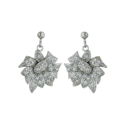 Sterling Silver Earring Pave Cubic Zirconia Flower Dangle