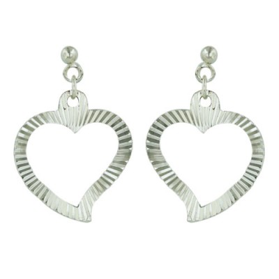 Sterling Silver Earring Coin Edge Open Heart Dangle--E-Coat