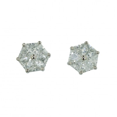 Sterling Silver Earring 6Pcs Triangle Clear Cubic Zirconia Stud