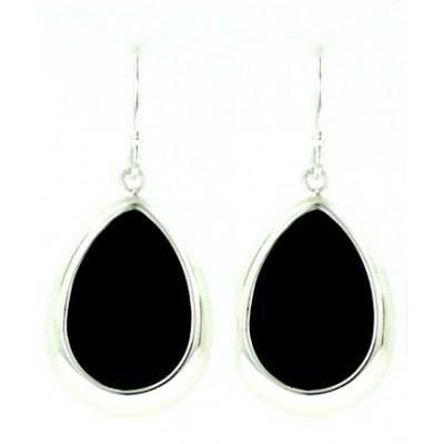 Sterling Silver Earring Tear Drop with Cabochon Onyx Dome+Fish Hook