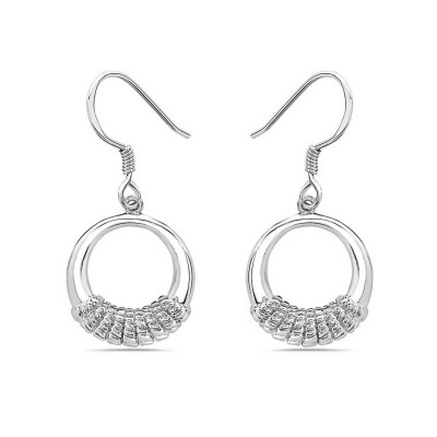 Sterling Silver Earring Donut with Rope Wrap On+Fish Hook