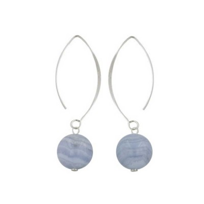 Sterling Silver Earring Almond Hook with 14mm Genuine Blue Lace Agat