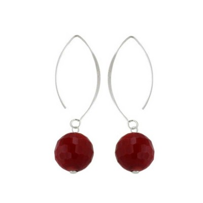 Sterling Silver Earring Almond Hook with 14mm Red Coral Faceted-Rhodium Plating