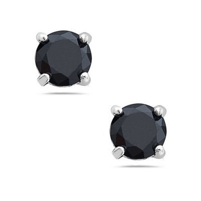 Sterling Silver Earring 5mm Round Black Cubic Zirconia Stud