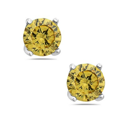 Sterling Silver Earring 5mm Round Citrine (#Czgo) Cubic Zirconia Stud