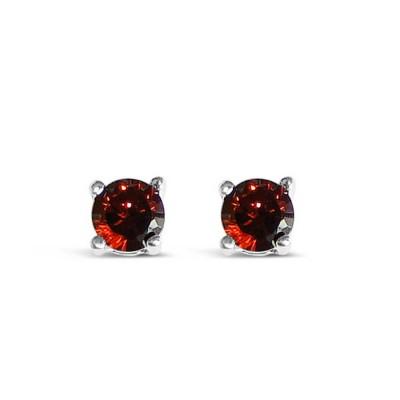 Sterling Silver Earring 5mm Round Garnet (#Czgn) Cubic Zirconia Stud