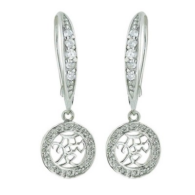 Sterling Silver Earring Cubic Zirconia Chinese 'Love' with Clear Cubic Zirconia Fish Hook