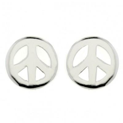 Sterling Silver Earring 10mm Plain Open Peace Symbol (Wide) Stud--