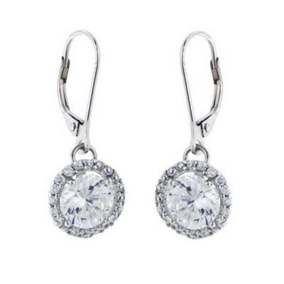 Sterling Silver Earring Lever Back Dangline 8mm Round Clear Cubic Zirconia with Cubic Zirconia