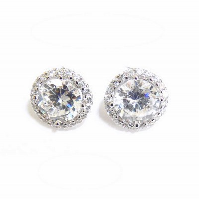 Sterling Silver Earring 8mm Round Clear Cubic Zirconia with Cubic Zirconia Stud
