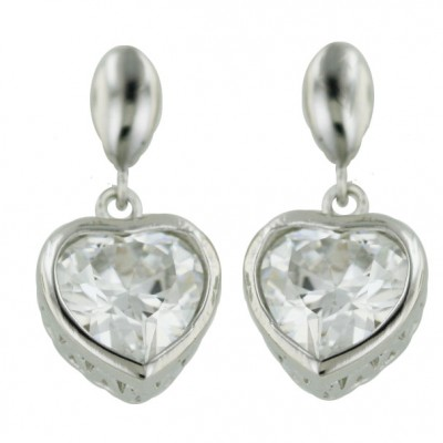 Sterling Silver Earring Plain Tear Drop with Clear Cubic Zirconia Heart Bezel Dangle