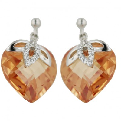 Sterling Silver Earring (W=18mm) Chess Cut Champagne Cubic Zirconia Heart with Plain+Clear
